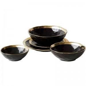 Piatto in ceramica Piatto dorato dorato Cucina domestica Piatto in ceramica Piatto dorato