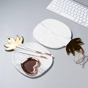 Tagliere di ceramica del tagliere del tagliere dei piatti del piatto della foglia di oro dell'ananas di struttura di marmo del piatto
