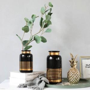 Vaso di ceramica stile europeo semplice bianco nero oro lusso fiore decorazione decorazione della casa