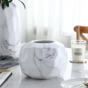 Decorazione molle del tavolo da pranzo creativo del salotto del fiore del modello di marmo minimalista geometrico moderno del vaso di ceramica