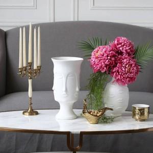 Vaso in ceramica Muse Face Lip Vaso sfaccettato Decorazione per la casa Vaso Gioielli di fiori artificiali
