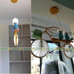 bambini luci a led Personalità bicicletta bambino lampada a sospensione camera da letto camera da letto lampada moderna Lampada a sospensione moderna Luce regalo per bambini