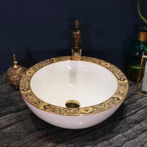 Lavabo in ceramica artigianale fatto a mano Lavobo Round Lavelli da appoggio vasche da bagno ciotole colore bianco bordato oro
