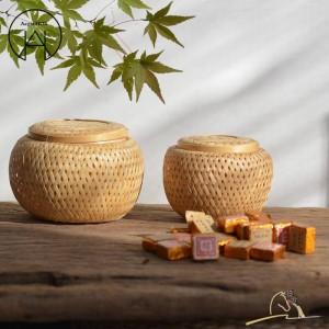 Artigianato Cestini per tè in bambù fatti a mano Cestello portaoggetti personalità Cestello per tè Cesto per frutta Scatola per frutta secca Accessori per tè