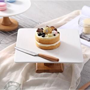 piatto Alzata Piastra per torte Piatti da portata per alimenti creativi Supporto per torta fai-da-te in legno Naural multiuso Banco da esposizione per dessert da sposa