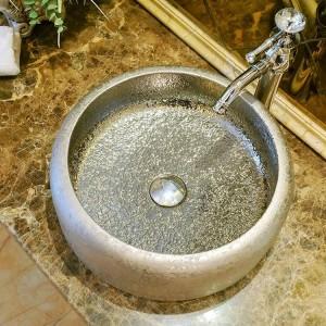 Lavabo da appoggio in ceramica in stile vintage con lavabo in ceramica Lavabo da appoggio in ceramica lavello bagno argento