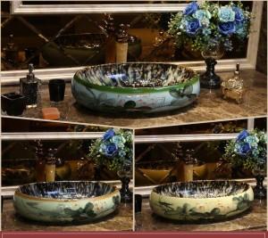 Lavabo da bagno con lavabo in ceramica stile europeo ovale fatto a mano da appoggio in ceramica di loto