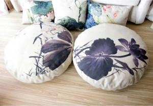 loto inchiostro Lotus cuscino lino circolare regina cuscino Futon Sedile (spesso) tatami Mat yoga cuscino di meditazione 80 * 80 * 15 cm