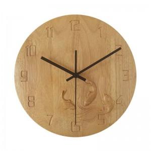 orologio da parete creativo in legno massiccio Camera da letto carpa intagliata a mano Orologio da parete in legno muto soggiorno studio orologi