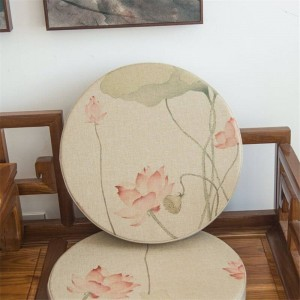 Cuscino rotondo in tessuto di lino di alta qualità Cuscini creativi con motivo a loto rosa Cuscino da yoga in tatami tatami spesso