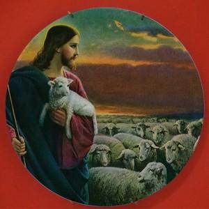 Pious Jesus Design classico Pittura Appeso in ceramica Piatti artigianali Piatto Chiesa Christian Faith Preghiera Piatto Credente Regalo