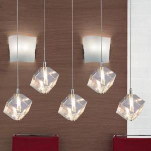 Lampade a sospensione a LED G4 trasparenti da 5 pezzi per sala da pranzo Luci di cristallo trasparenti per bar da cucina Lustre Pendente in vetro chiaro