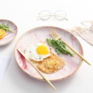 InsFashion fantastico vassoio da colazione in ceramica con motivo in marmo rosa con bordo dorato per un romantico ristorante in stile bohemien