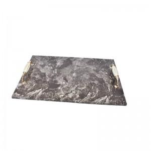 Vassoio da portata in marmo naturale marrone rettangolare rettangolare InsFashion con manico per arredamento hotel ristorante vintage
