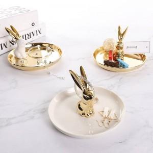 Piatto da gioielli in ceramica di coniglio tondo super lusso InsFashion per ragazza e festa di nozze da asporto set regalo