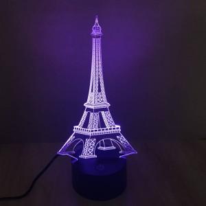 Lampada da tavolo colorata Torre Eiffel 3D luci notturne illusione creativa 3D tocco interruttore 7 gradiente di colore deco lampada da scrivania a LED come regalo