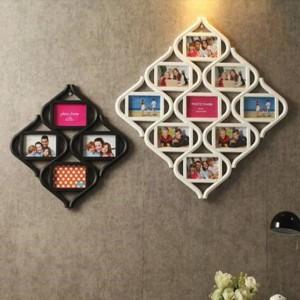 Combinazione di 12 griglie Continental di cornici per foto da 6 pollici appese a parete a forma di pezzo bianco Decorazioni per la casa Decorazioni per matrimoni