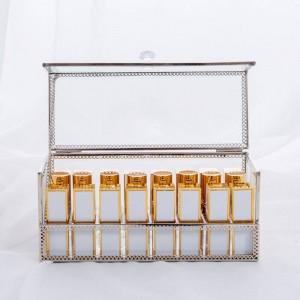 Scatola di immagazzinaggio cosmetica del rossetto Scatola di immagazzinaggio dell'oro Scatola di immagazzinaggio cosmetica trasparente dello specchio antipolvere