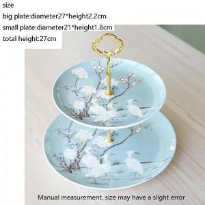 Crane Pattern Ceramic Bone Fine Piatti a doppio strato di frutta Home Garden Dessert Pasticceria Piatto Festa nuziale Torta Grande piattino