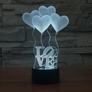 Lampada illusione 3D creativo Scolorimento colorato Luci notturne a LED 3D Cuore d'amore Decorazione per camera da letto in acrilico con lampada da matrimonio