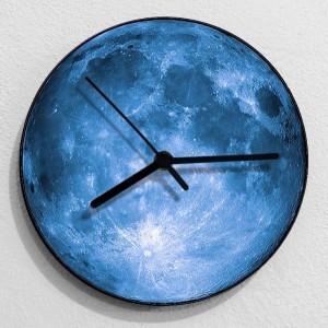 creativo 3D Moon orologio da parete soggiorno appeso a parete orologio da parete grigio blu luna muto orologi shabby chic