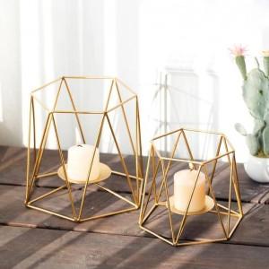 Portacandele creativo Ins Colore oro Geometrico Metallo Ferro Art Candeliere Romantico Cena a lume di candela Decorazione per la luce notturna