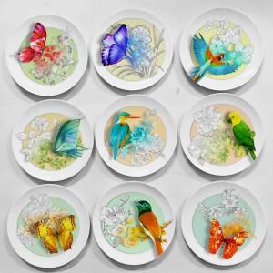 Design creativo Fiori e uccelli Decorazione con motivi animali Piatto appeso Decorazioni per la casa rustiche Il nuovo designer sud-est