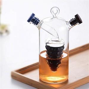 Bottiglia di spezie in vetro a doppio strato creativo Olio per perdite Perdita di aceto Bottiglie di stoccaggio Vasetto Condimento Dispenser sigillato con rotelle