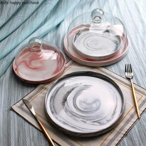 Creativo stile europeo ceramica Marmo Vassoio di frutta Con coperchio Piatto per torta Copertura in vetro Vassoio per espositore da tavolo da dessert
