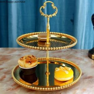 Creativo stile europeo Doppio strato Vassoio per frutta soggiorno cucina Alzata per dolci zucchero Piatto per frutta secca Tè pomeridiano Vassoio snack