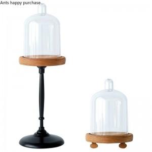 Creativo stile europeo Retrò Mini Alzata Torta Alzata Torta Alzata Espositore Base in legno Copertura antipolvere trasparente Decorazione