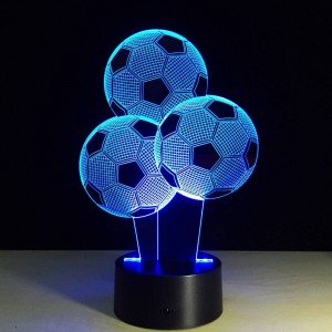 Luci notturne di Football creativo 7 colori che cambiano forma di palloncino 3D LED Illusion Lampada 3D Visual Light per gli appassionati di calcio Regalo