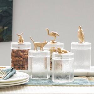 Vaso di vetro creativo decorazione in metallo con tappo a bottiglia per animali in metallo Scatola di immagazzinaggio Vaso di caramelle Chicco di caffè Bottiglie trasparenti per serbatoi di stoccaggio