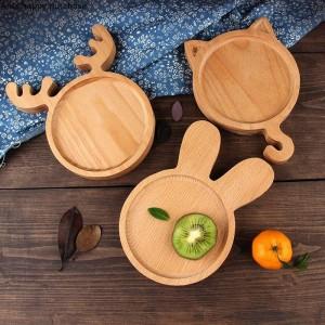 Creativo delizioso vassoio in legno in stile giapponese Piatto per bambini Pane da dessert Piatto da macedonia per bambini Piatto da festa in ceramica