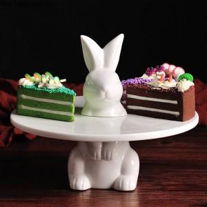 Coniglio adorabile creativo Vassoio della torta Vassoio della frutta Supporto della torta Piatto decorativo di nozze Ringraziamento Decorazione natalizia
