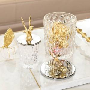 Scatola di caramelle in metallo creativo Vaso di vetro Testa di cervo Bottiglia di stoccaggio Vaso di caramelle Vetreria grande Serbatoio di stoccaggio Decorazione regalo in lattina di cristallo