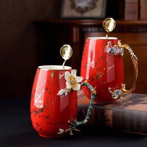 Tazza di caffè creativa a smalto multicolore Tazza di grande capacità Ceramica Lega di latte Impugnatura Tazze da tè Tazza da acqua per bevande calde e fredde