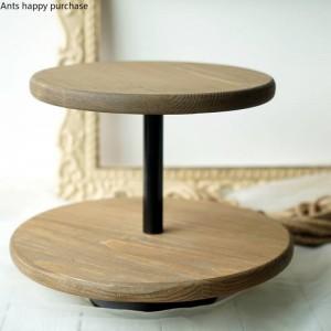 Creativo stile nordico Decorazione per tavola da dessert in legno Supporto per torta Puntelli per matrimonio Espositore per spuntini Porta merenda Doppia tortiera