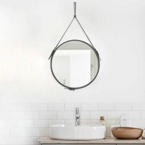 Creativo Cintura tonda appesa specchio bagno PU cornice in pelle specchio per il trucco hotel decorazione della casa specchio a parete mx3081024