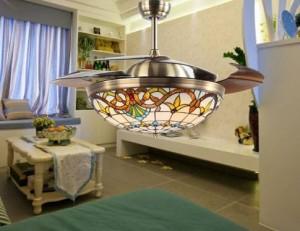Creative Tiffany Ventilatore a soffitto invisibile da 42 pollici Lampada da soffitto a LED decorativa a soffitto per illuminazione interna Asial