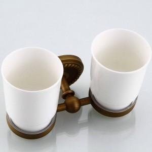 Portabicchieri e bicchieri 2 tazze in ceramica Spazzolino in ottone antico Portabicchieri doppio Accessori per bagno a parete Portabicchieri 9144K