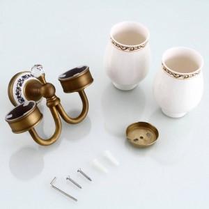Portabicchieri e bicchieri Accessori in cristallo per il bagno a parete Accessori per il montaggio a parete Portabicchieri doppi 9214K