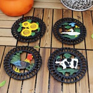 Sottopentola decorativa in ghisa per cucina o tavolo da pranzo | Rotondo con motivo animali | Pad caldi per pentole e padelle | Resistente al calore