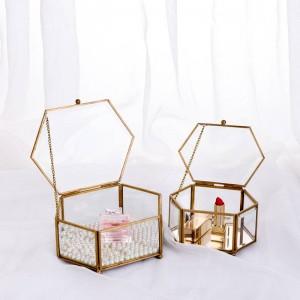 Scatola portaoggetti decorativa Scatola esagonale geometrica in vetro Scatola per gioielli Specchio Eterno Decorazione floreale Artigianato
