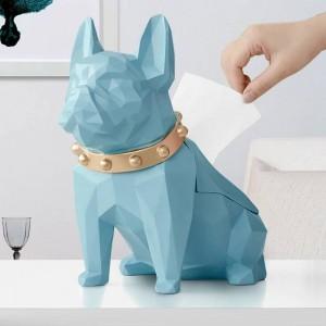 Mestiere del supporto del tessuto del cane del nero della resina della figurina del cane per la scatola del tessuto creativo creativo moderno del tessuto del cane della decorazione del piano d'appoggio della stanza della cucina