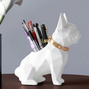 Statuina in resina per cani Porta penne da scrivania organizer per ufficio accessori Portaoggetti portamatite per penna da scrivania regalo artigianale