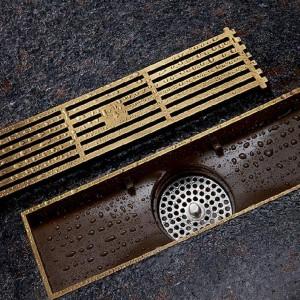 Scarichi Euro Style Ottone Antico Bagno Lineare Doccia 8 * 20 8 * 30cm Scarico a pavimento Colino a filo Art Carved Cover Scarico di scarico B8029