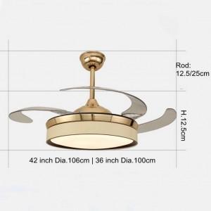 Ventilatore elettrico Lampade a sospensione Led placcato oro per illuminazione camera da letto soggiorno e Ventilatore Ventilatore a LED a due funzioni