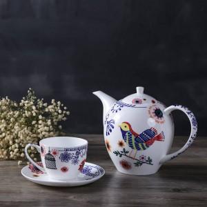 Set da tè inglese pomeridiano Piatto da frutta teiera piattino europeo in osso con doppio piatto da tè nero e piattino.