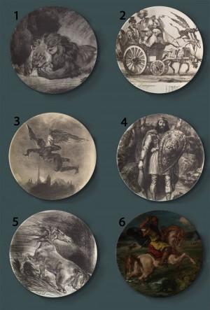 Eugene Delacroix Pittura Piatti decorativi Piatto artistico per la casa in ceramica Esposizione di sfondo per hotel Piatto tempestoso per pittura per barche